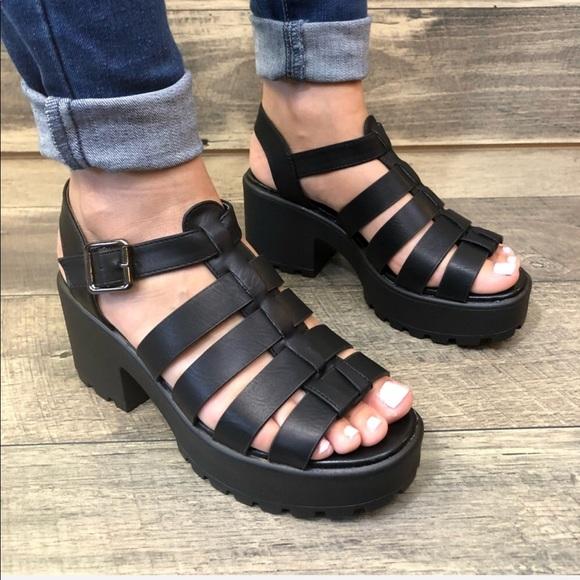 black platform gladiator sandals